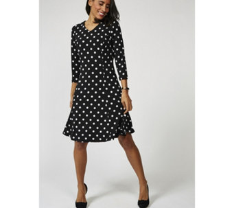Printed Liquid Knit V Neck 3/4 Sleeve Dress by Susan Graver - 169146