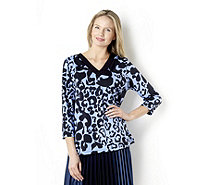 3/4 Sleeve Printed V-Neck Top by Susan Graver - 158447