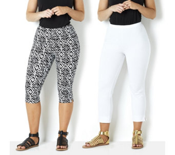 Women with Control Printed Pedal Pusher & Solid Crop - 159547