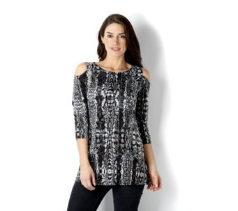 Attitudes by Renee Cold Shoulder Transfer Jacquard Tunic - 163147