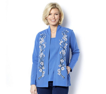 Bob Mackie Blossom Embroidered Cardigan Knitted Top Set - 163247