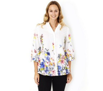 Fashion by Together Floral Print 3/4 Sleeve Shirt - 163547