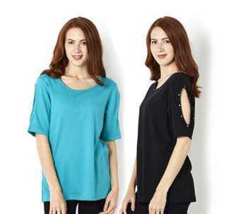 Quacker Factory Set of Two Cold Shoulder Knitted Tops - 163647