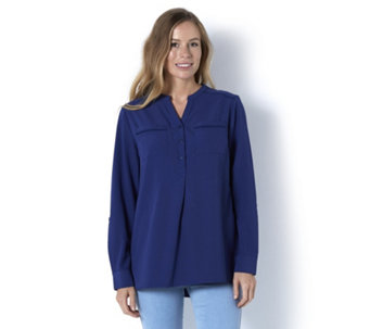 Denim & Co. Long Sleeve Button Front Blouse with Crochet Detail - 164947