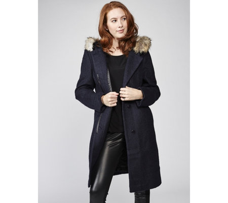 Centigrade Boucle Coat with Faux Fur Trim Hood