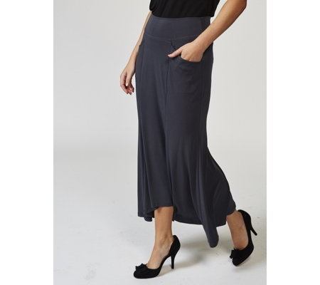 Kim & Co Silky Brazil Knit Curved Hem Skirt with Pockets