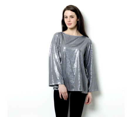"""As Is"" Diane Gilman Jersey Sequin Front Top"