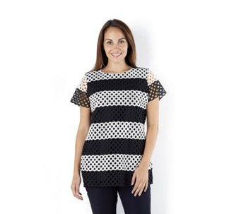 Isaac Mizrahi Live Striped Lace Front Top with Jersey Back - 162348
