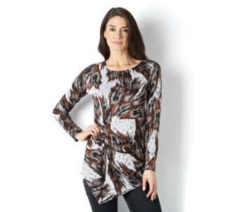 Attitudes by Renee Transfer Jacquared Asymmetric Hem Tunic - 163148