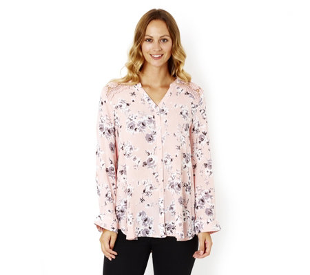 Fashion by Together Floral Print Lace Shoulder Shirt