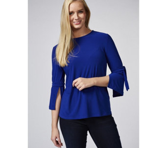 Every Day Textured Liquid Knit Top with Tie Sleeves by Susan Graver - 169148
