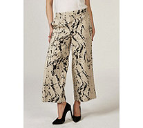 MarlaWynne Linen Burnout Cropped Trousers - 171548