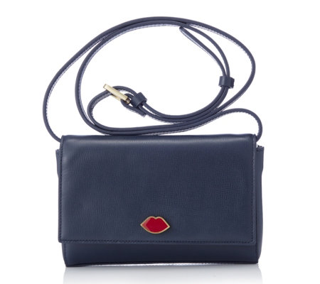 Lulu Guinness Edna Small Smooth Leather Handheld Bag with Detachable Strap