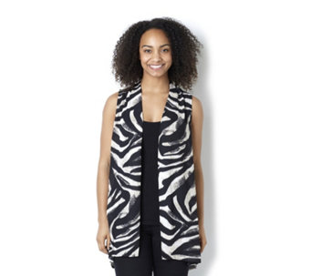 Sleeveless Printed Open Front Vest by Susan Graver - 158449