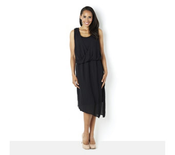 H by Halston Draped Chiffon Layered Sleeveless Jersey Dress - 159349