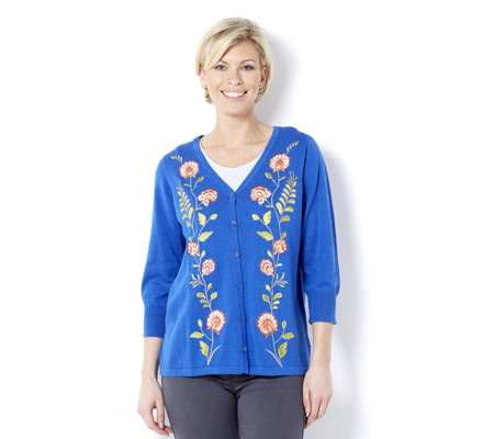 Bob Mackie Embroidered Floral Cardigan