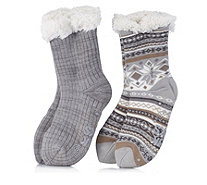 Muk Luks Jojoba Lined Cabin Socks 2 Pack with Gift Bag - 168049