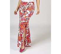 Kim & Co Fresh Bouquet Shantung Side Slits Relaxed Trousers - 172449