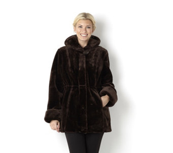 Dennis Basso Faux Fur Hooded Coat with Print Lining & Drawstring Waist - 113550