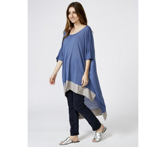 Join Clothes Round Neck Contrast Hem Raised Front Dip Back Tunic - 123850