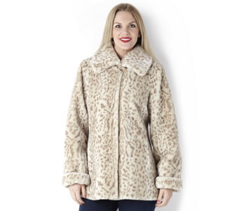 Dennis Basso Animal Print Faux Fur Coat with Printed Lining - 127350