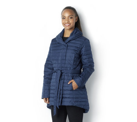 H by Halston Quilted Water Repellant Shawl Collar Coat