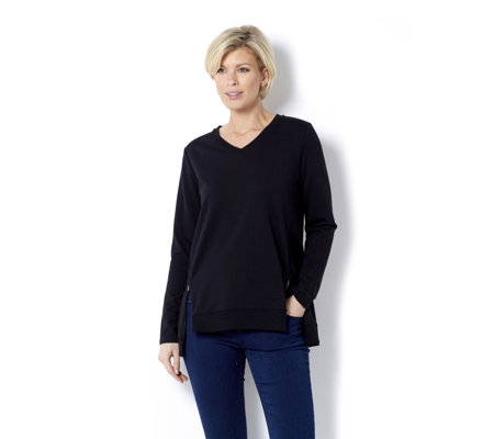 H by Halston French Terry Zip Detail V Neck Long Sleeve Top