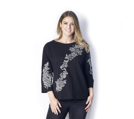 Bob Mackie 3/4 Sleeve Floral Embroidery Detail Top