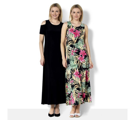 Attitudes By Renee Print & Plain 2Pack Maxi Dress Regular Length