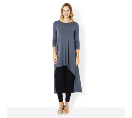 Join Clothes 3/4 Sleeve Jersey Dress with Dropped Back Hem