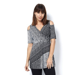 Grace V Neck Cold Shoulder Striped Tunic - 167650
