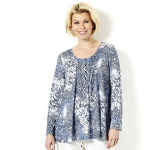 Together Dusky Denim Lace Print Top - 158151