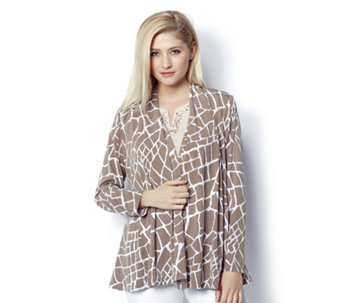 Printed Open Front Cardigan by Susan Graver - 158451