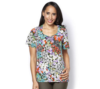 Kim & Co Clustered Floral Brazil Knit Flared Sleeve Top - 159151