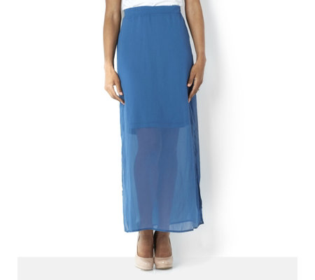 h by skirt with maxi chiffon overlay qvc uk