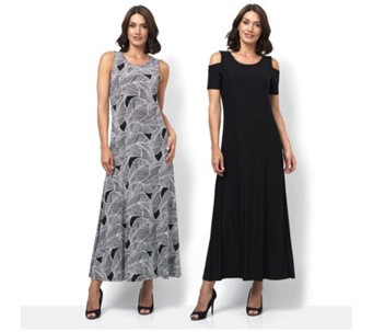 Attitudes By Renee Print & Plain 2Pack Maxi Dress Petite Length - 164751