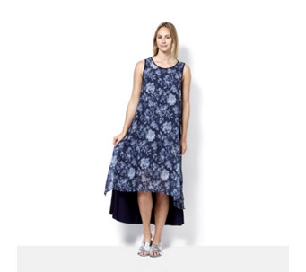 Join Clothes Jersey Chiffon Floral Print Overlay Maxi Dress - 166551