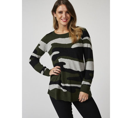 Attitudes by Renee Long Sleeve Printed Sweater