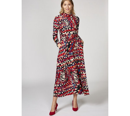 Lauren High Neck Printed Maxi Dress by Onjenu London