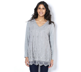 Fashion by Together Tunic with Lace Overlay - 157052