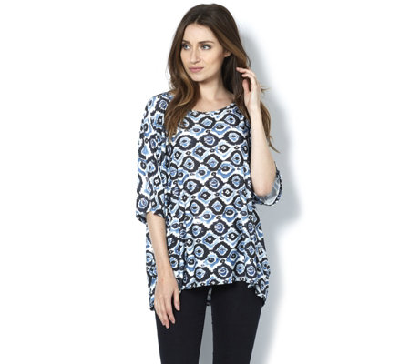 Join Clothes Scoop Neck 3/4 Sleeve Printed Tunic