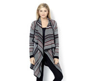 Absolutely Famous Jacquard Open Front Cardigan with Ruching Detail