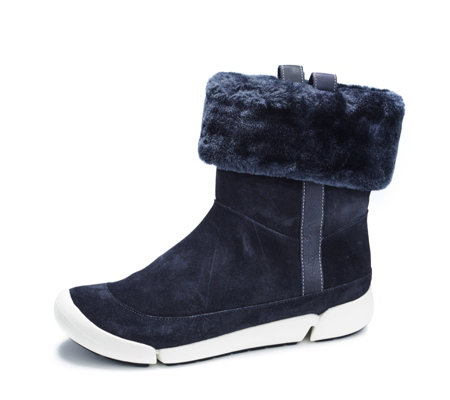 Clarks Tri Attract Suede Ankle Boots with Faux Fur Cuff