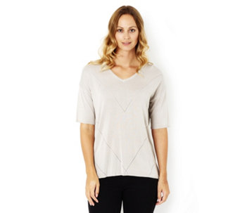 Marble Pointelle Detail V Neck Easy Fit Jumper - 162952