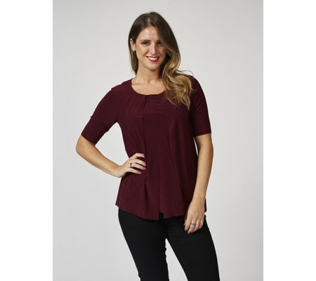 Round Neck Layered Top with Inverted Pleat Detail by Nina Leonard