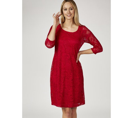 Ronni Nicole 3/4 Sleeve Stretch Lace Shift Dress