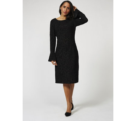 Antthony Designs Long Sleeve Stretch Lace Dress with Frill Cuffs