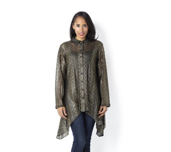 Lurex Lace Side Dip Hem Shirt by Michele Hope - 128553