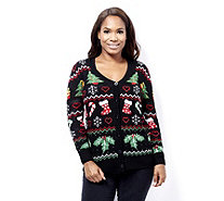 Absolutely Famous Christmas Jaquard Pattern Cardigan - 161453