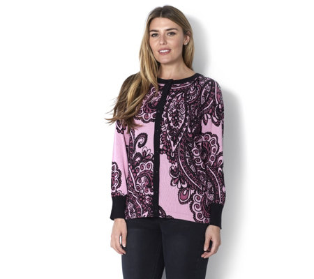 Bob Mackie Placement Print Knitted Cardigan